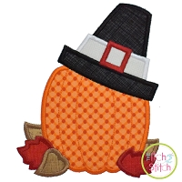 Pumpkin with Pilgrim Hat Applique