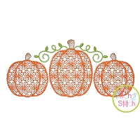 Pumpkin Trio Motif Embroidery