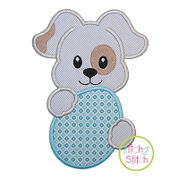 Puppy with Egg Applique Design