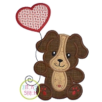 Puppy with Heart Balloon Boy Applique Design