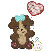 Puppy with Heart Balloon Girl Applique Design