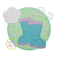 Rain Boots Circle Applique Design