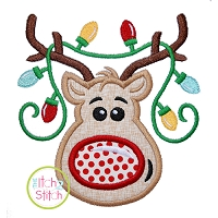 Reindeer Boy with Lights 2 Applique