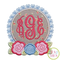Roses Monogram Frame Applique Design