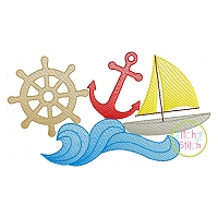 Sailboat Wave Scene Sketch Embroidery
