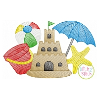 Sandcastle Beach Scene Sketch Embroidery