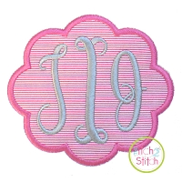 Scalloped Oval Monogram Frame Applique