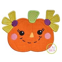 Scarecrow Pumpkin Girl Applique