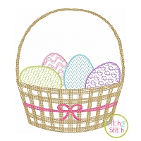 Scratchy Easter Basket Bow Embroidery