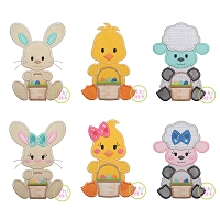 Sitting Easter Animals with Basket Applique Design Set