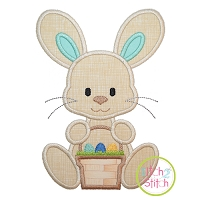 Sitting Bunny Basket Boy Applique