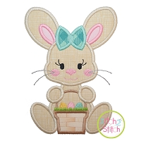 Sitting Bunny Basket Girl Applique