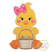 Sitting Duck Basket Girl Applique