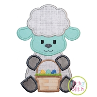 Sitting Lamb Basket Boy Applique