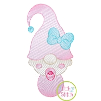 Gnome Baby Girl Sketch Embroidery Design