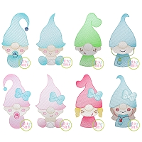 Gnome Family Kids Sketch Embroidery Design