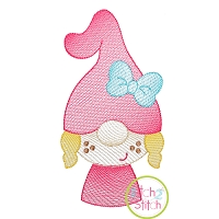 Gnome Little Girl Sketch Embroidery Design