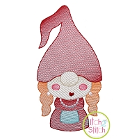 Gnome Mom Sketch Embroidery Design