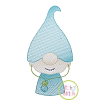 Gnome Teen Boy Sketch Embroidery Design