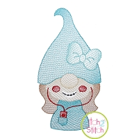 Gnome Teen Girl Sketch Embroidery Design