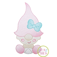 Gnome Toddler Girl Sketch Embroidery Design