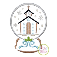 Snow Globe Church Embroidery