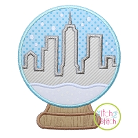 Snow Globe Cityscape Applique