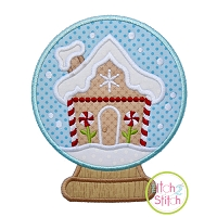 Snow Globe Gingerbread House Applique