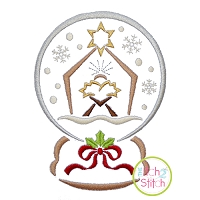 Snow Globe Manger Embroidery