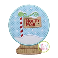 Snow Globe North Pole Applique