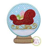 Snow Globe Sleigh Applique