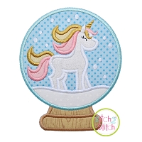 Snow Globe Unicorn Applique