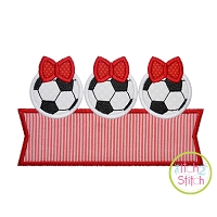 Soccer Ball Bow Trio Banner Applique Design