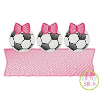 Soccer Ball Bow Trio Banner Sketch Embroidery Design