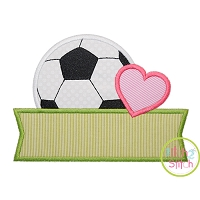 Soccer Ball Heart Banner Applique Design
