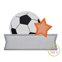 Soccer Ball Star Banner Applique Design