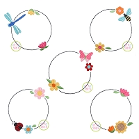 Spring Bloom Frames Embroidery Design Set
