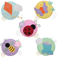 Spring Circle Applique Design Set
