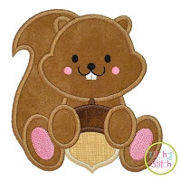 Squirrel Acorn Boy 2 Applique