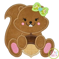 Squirrel Acorn Girl 2 Applique