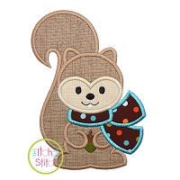 Squirrel with Scarf Boy Applique