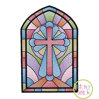 Stained Glass Cross Sketch Embroidery Design