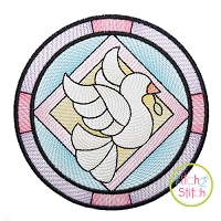 Stained Glass Dove Sketch Embroidery Design