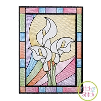 Stained Glass Lilies Sketch Embroidery Design