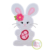 Standing Bunny with Egg Girl Applique
