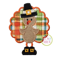 Standing Turkey In Pilgrim Hat Applique