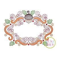 Super Swirly Acorn Frame Sketch Embroidery