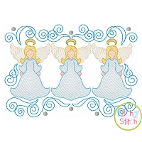 Super Swirly Angel Trio Sketch Embroidery