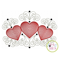 Super Swirly Heart Trio Sketch Embroidery Design