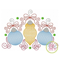 Super Swirly Ornament Trio Sketch Embroidery
